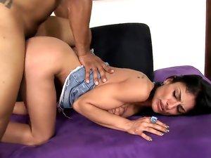 Middle Eastern Slut Spreads ForHer First Black Cock