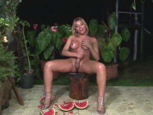Big titty t-girl gets a melon workout before jerking off