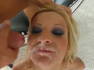Cum For Cover She gets five hard cocks' cum all over her face
