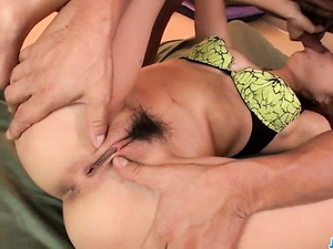 Kana Aono moans while her pussy is being stimulated