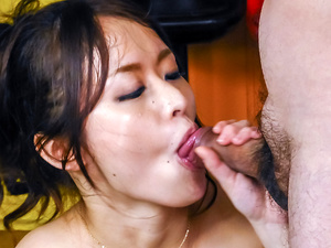 Busty beauty starts throating two cocks in special POV show
