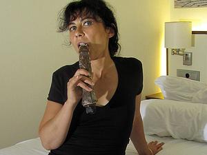 Hairy mature slut masturbating with a dildo