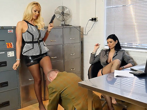 Sexy boss bitches turn office pervert into nylon stockings worship and foot slave bitch