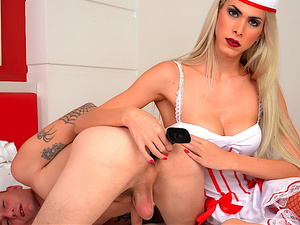 Evil Tranny Nurse Barbara Perez Dominates a Wimp and Fucks His Ass