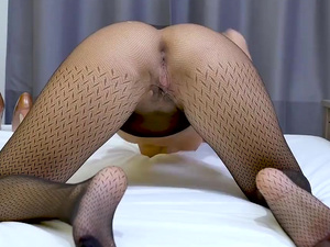 Stunning brunette tease Vicky Love strips and fingers pussy in her patterned sheer nylon pantyhose