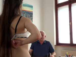 Young Girl Fucked by Old Man Office Deepthroat Blowjob