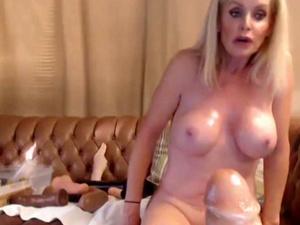 Mega Busty Blonde MILF Fucks Two Giant Dildos