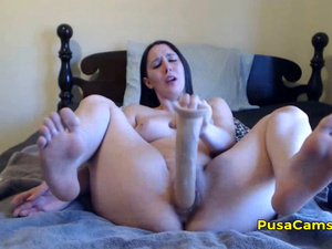 Chubby Curvy Teen 16 Inch Big Dildo Masturbation EASY