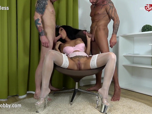 My Dirty Hobby - Busty brunette takes 2 hard cocks