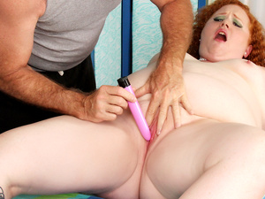 Redheaded Fat Girl Scarlett Raven has Her Fleshy Body and Cunt Massaged