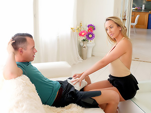 Horny Stepmom Massages Stepson's Huge Cock