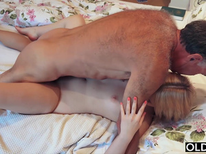 Nympho sucks grandpa cock has sex with him on her bed
