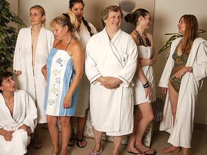 Mature ladies relaxing in a sauna