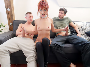 Redhead Dominica's Gaping DP Threesome