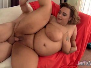 Chubby Sara Wilson Gets a Guy Off with Her Pussy, Big Belly and Tits