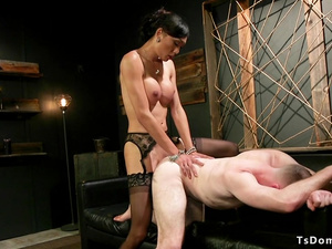 Tranny bound and anal fucked delivery guy