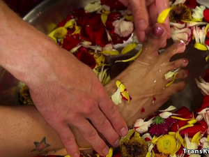 Man worships trannys goddess bare feet