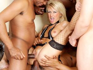 Cathy Inez anal interracial gangbang