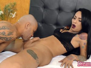 Tranny Girlfriends Melyna Merli and Nicolly Pantoja Are Fucked by Two Guys