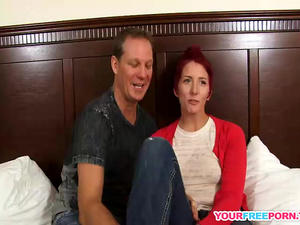Redhead milf with pierced tits playing with my cock