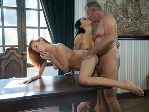 Boss lady orders a threesome
