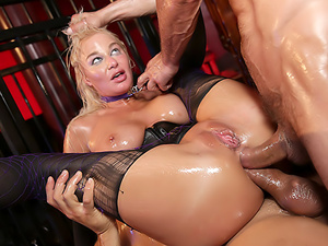 London's Oily Double Anal Threesome!