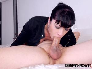 Big tit Latina Cassandra Cain deepthroating a big cock