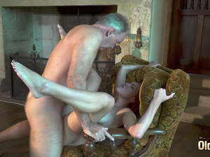 Lucky grandpa has sex with two hot chicks