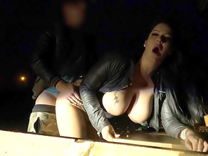 Busty minx night time public fuck