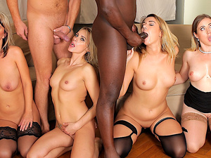 Four Cock Hungry Sluts Get Passed Around Between BBC and White Dicks