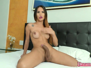 Seductive TS Kalliny Nomura Teases and Jerks off Her Big Cock