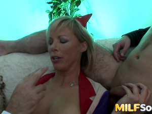 Blonde MILF Kayla Synz Offers Her Ass and Pussy to Two Horny Men