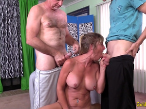 Older Slut Sky Haven Shared Between Four Men in a Wild DP Gangbang