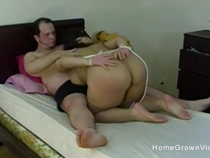 Tied up my big tit girlfriend and fed her my hard cock