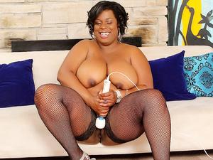 Mega Milkers Ebony BBW Marliese Morgan Stimulates Her Pussy with Sex Toys