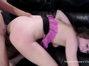 Skinny brunette girlfriend gets herself some new dick