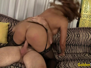 Big Tits Mature Latina Nikki Ferrari Sucks and Rides an Old Dick