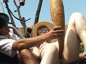 hairy granny outdoor fucked with huge turnip