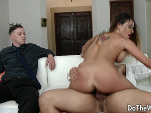 Busty Wife Claudia Valentine Deepthroats n Rides While Cuck Enjoys the Show
