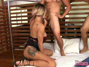 Lustful TS Bruninha Almeida Takes Two Cocks up Her Asshole at Once