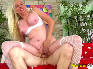 Cock Hungry Grandma Sara Skippers Sucks and Fucks a Younger Cock