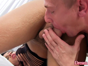Shemale Natalia Avellar Stretches a Lucky Guys Ass with Her Big Cock