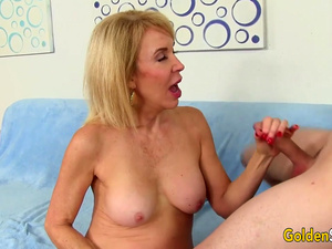 Younger Guy Pleasures Naughty Granny Erica Lauren with Tongue and Cock