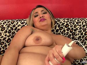 Dildo and Vibrator Make Fat Latina MILF Sinful Celeste Cum Like a Wild Slut