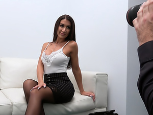 Sexy Brit fucked over the office desk