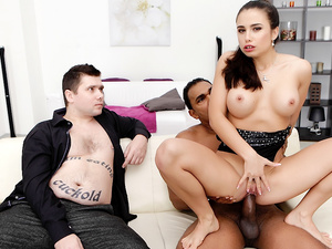 Wife Mira Cuckold Holds Husbands Hands While a BBC Destroys Her Pussy
