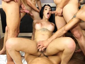 Gangbang fuck of big boobs latina tranny Vitoria Neves who loved it all