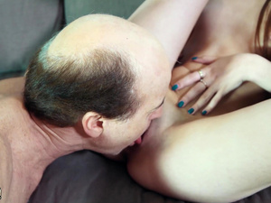 Old man fucks young babe in her sweet virgin pussy