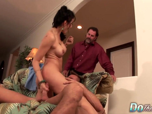 Do The Wife - Big Tits MILF Riding With Her Husband in Sight Compilation