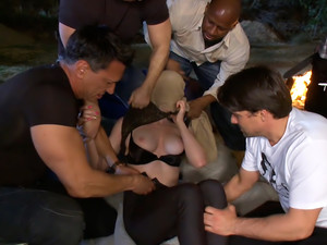 Slutty redhead in first gang bang. 18 and ready to go!